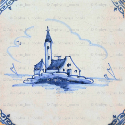 Classic Delft Blue Ceramic Tile Inspired Pattern - Old Church motif
