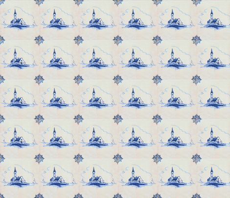 Classic Delft Blue Ceramic Tile Inspired Pattern - Old Church motif fabric by zephyrus_books on Spoonflower - custom fabric