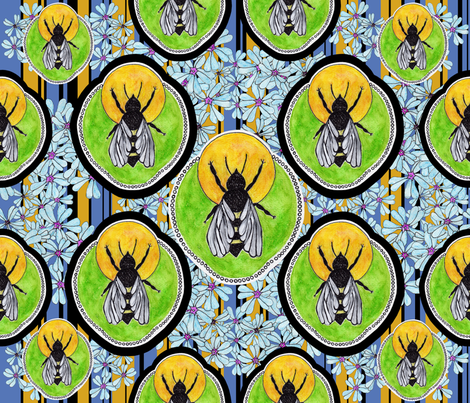 Spring Bee fabric by rubydoor on Spoonflower - custom fabric