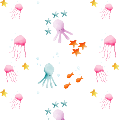 Underwater friends fabric by natitys on Spoonflower - custom fabric