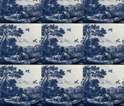 Classic Delft Blue Ceramic Tile Inspired Pattern - Cattle and Ravens Pastoral motif