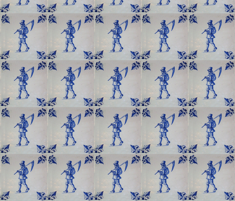Classic Delft Blue Ceramic Tile Inspired Pattern - Field Mower with Scythe motif fabric by zephyrus_books on Spoonflower - custom fabric