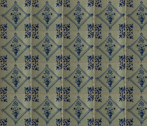 Classic Delft Blue Ceramic Tile Inspired Pattern - Floral Vase and Flowersmotif fabric by zephyrus_books on Spoonflower - custom fabric