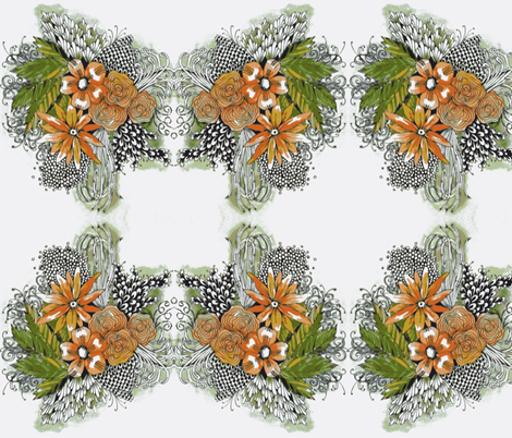peachy flowers fabric by fallingladies on Spoonflower - custom fabric