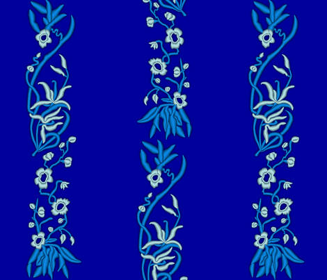 Embroidered Flying Floral Fabric - Stripes