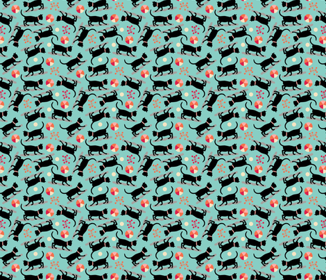 black-cat-01 fabric by tammiebennett on Spoonflower - custom fabric