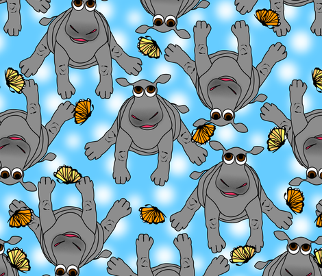baby hippos blue sky and butterflies