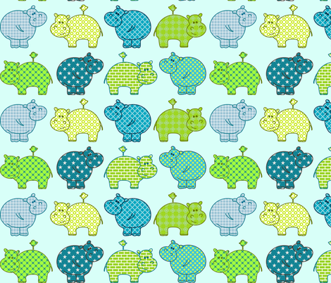 Hippo Birdie in the line fabric by drafoeki on Spoonflower - custom fabric