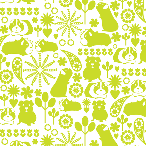 I love green guinea pigs fabric by ebygomm on Spoonflower - custom fabric