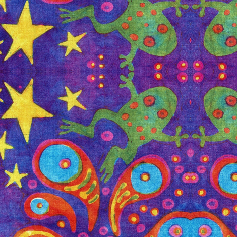 Supernova Frog Party fabric by hooeybatiks on Spoonflower - custom fabric