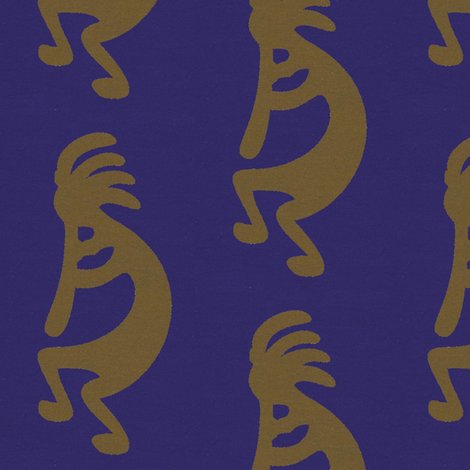 Green Kokopelli on blue background - dancing, headdressed flute player (flautist or flutist)