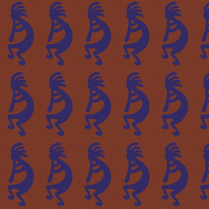 Blue Kokopelli on rust background - dancing, headdressed flute player (flautist or flutist)