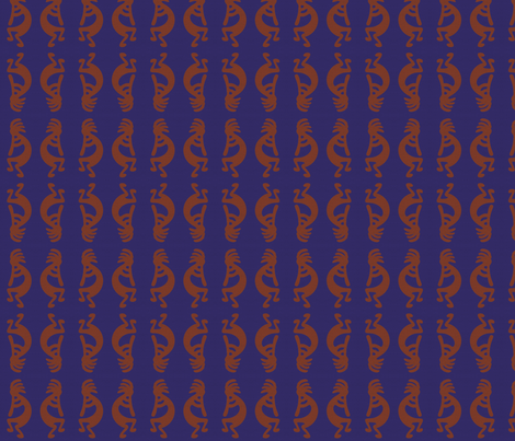 Rust red Kokopelli on blue background - dancing, headdressed flute player (flautist or flutist)