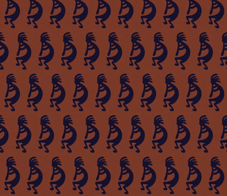 Black Kokopelli on rust background - dancing, headdressed flute player (flautist or flutist)