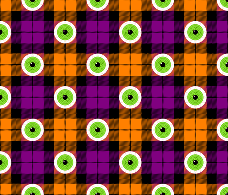 tartan - seasonal - halloween eyeballs fabric by sef on Spoonflower - custom fabric