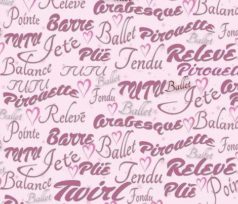 Ballet Words fabric by dancingwithfabric on Spoonflower - custom fabric