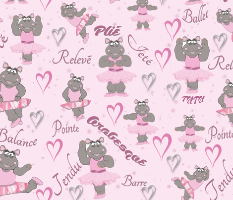 Helena Hippo Ballerina fabric by dancingwithfabric on Spoonflower - custom fabric