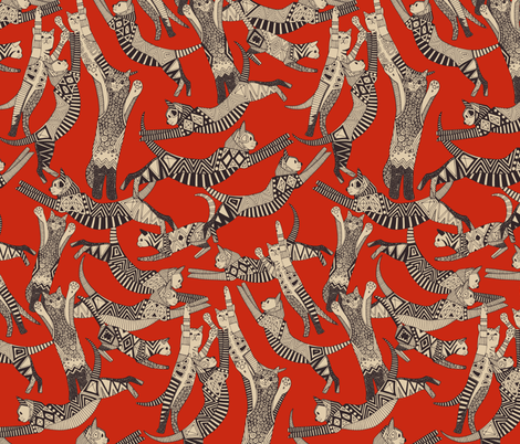 cat party chocolate red fabric by scrummy on Spoonflower - custom fabric