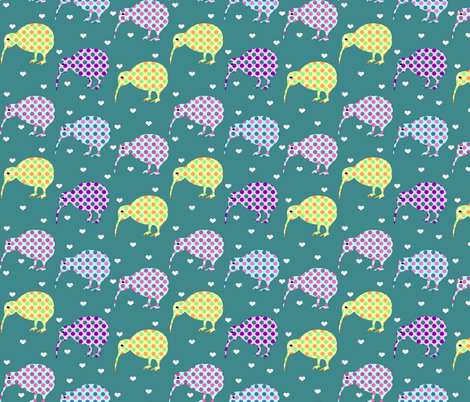 I Heart Kiwi fabric by glanoramay on Spoonflower - custom fabric