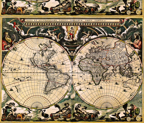 Vintage World Map 1 fabric by whimzwhirled on Spoonflower - custom fabric
