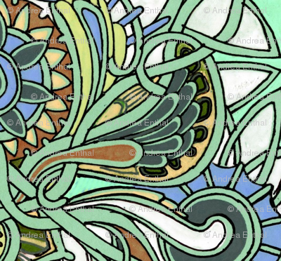 Winged Vertical Paisley Stripes