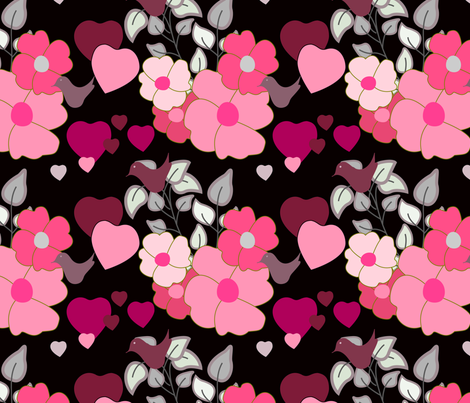 flowers with hearts fabric by rcm-designs on Spoonflower - custom fabric