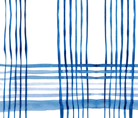 cestlaviv_kitchen plaid blue fabric by cest_la_viv on Spoonflower - custom fabric