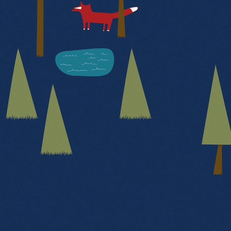 Fox in the Forest on Blue
