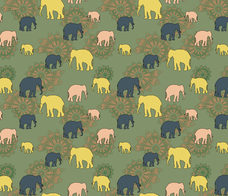elephant mesmerised fabric by preethiprabhuram on Spoonflower - custom fabric