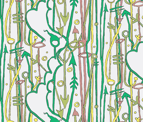 Green Faerie Signs and Elfin Arrows fabric by boris_thumbkin on Spoonflower - custom fabric
