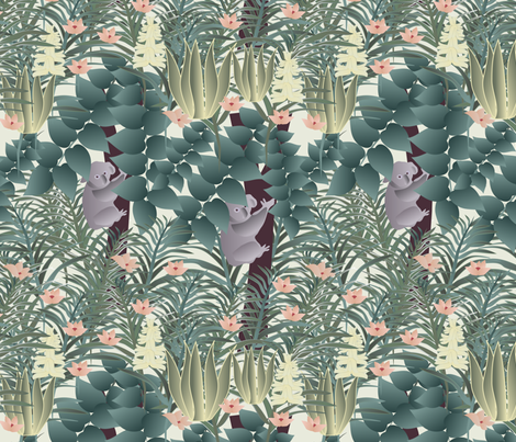 koala on cream fabric by kociara on Spoonflower - custom fabric