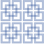 Geometric Nautical Navy Blue and White Intertwining Squares by Anna See