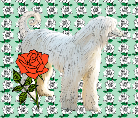 Afghan Hound and Roses fabric by dogdaze_ on Spoonflower - custom fabric