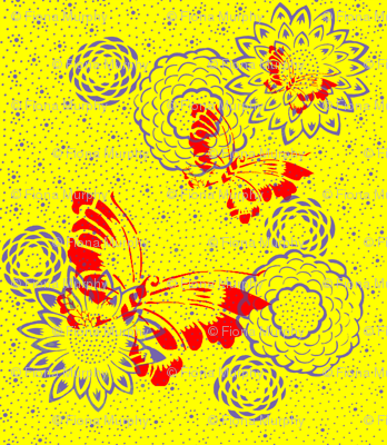 Japanese inspired yellow, red and lilac butterfly & Flower print