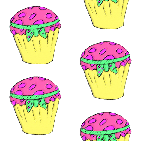 Cupcake in pink & lemon and green handsketch  fabric by sew_delightful on Spoonflower - custom fabric