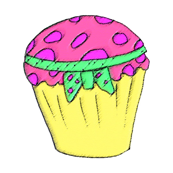 Cupcake in pink & lemon and green handsketch