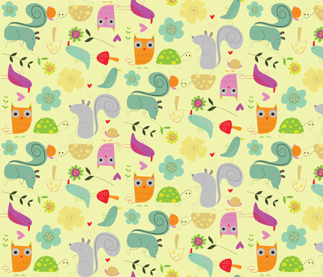 Woodland Animals fabric by redfish on Spoonflower - custom fabric