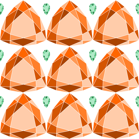 Tangerine and Emerald fabric by blondfish on Spoonflower - custom fabric