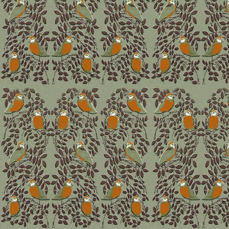 birds in bushes fabric by kociara on Spoonflower - custom fabric
