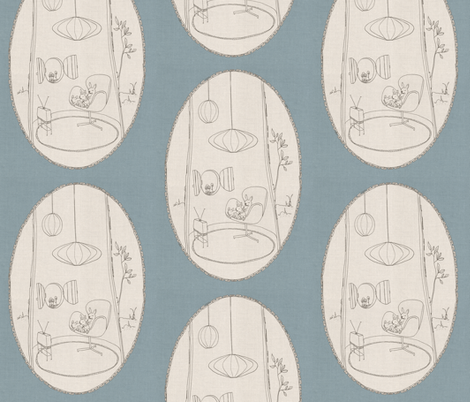 Bunnies nest with Arne & Nelson fabric by sodabyamy on Spoonflower - custom fabric