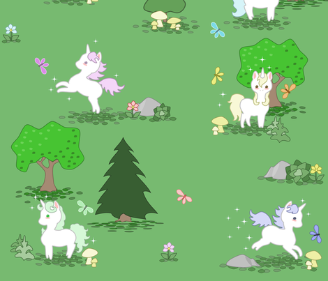 Playful Unicorns in the Forest fabric by lyddiedoodles on Spoonflower - custom fabric