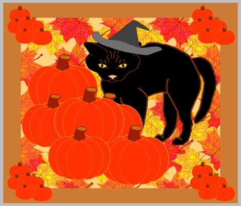 AutumnLeavesOldBlackCat fabric by grannynan on Spoonflower - custom fabric