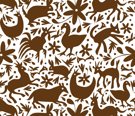 Mexico Springtime: Brown on White (Large Scale) fabric by sammyk on Spoonflower - custom fabric