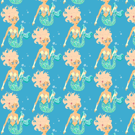 Mermaiden bubbly sea fabric by simplasticity on Spoonflower - custom fabric