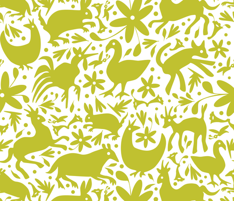Mexico Springtime: LemonLime on White (Large Scale) fabric by sammyk on Spoonflower - custom fabric