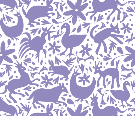 Mexico Springtime: Lilac on White (Large Scale) fabric by sammyk on Spoonflower - custom fabric
