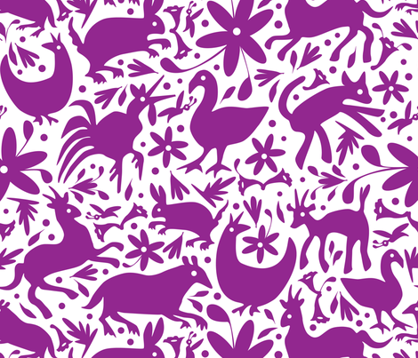 Mexico Springtime: Magenta on White (Large Scale) fabric by sammyk on Spoonflower - custom fabric