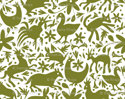 Mexico Springtime: Olive on White (Large Scale)