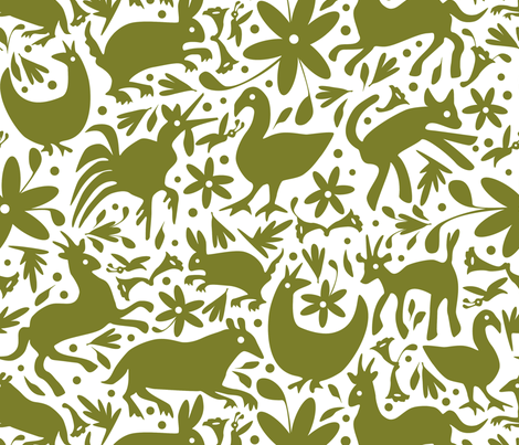 Mexico Springtime: Olive on White (Large Scale) fabric by sammyk on Spoonflower - custom fabric
