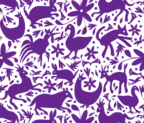 Mexico Springtime: Purple on White (Large Scale) fabric by sammyk on Spoonflower - custom fabric